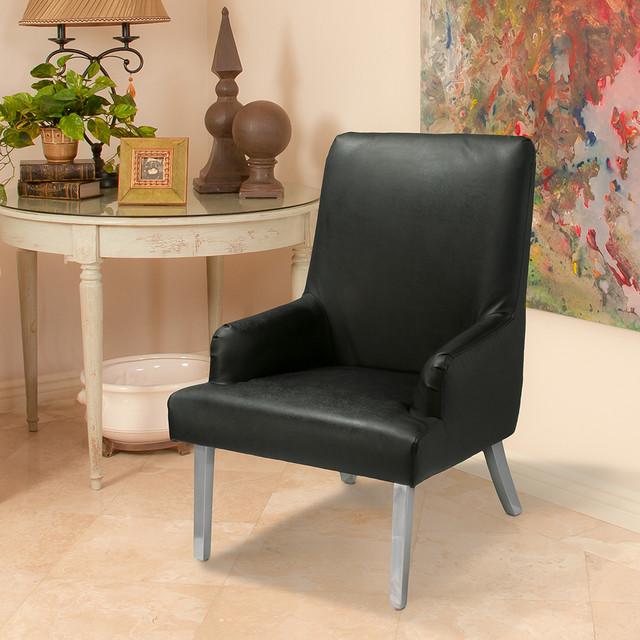 Orlando Black Leather Chair Modern Entry