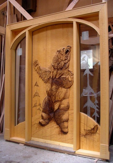 Our Wood Carved Entry Doors - Rustic - Entry - other metro - by Summit Log & Timber Homes