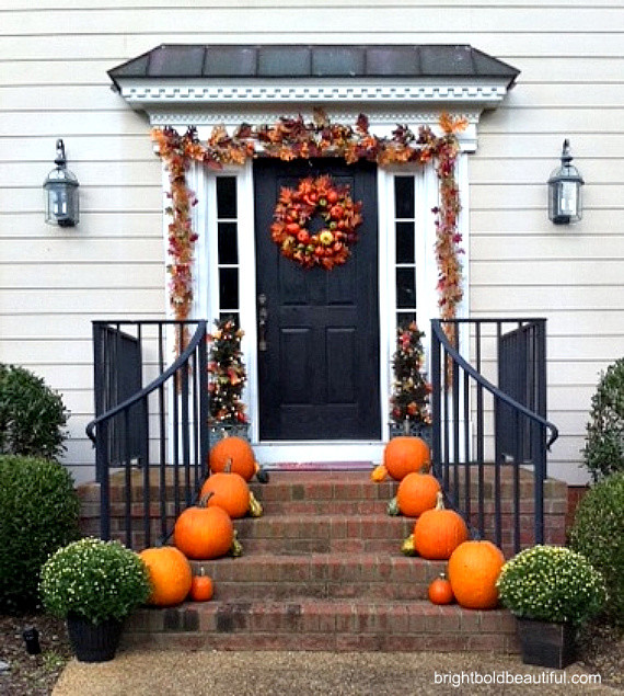 Outdoor fall decorating traditional entry by bright for Decorating outdoor entryways