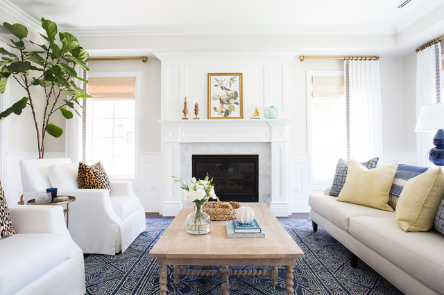 Inspiration for a transitional entryway remodel in Los Angeles with white walls