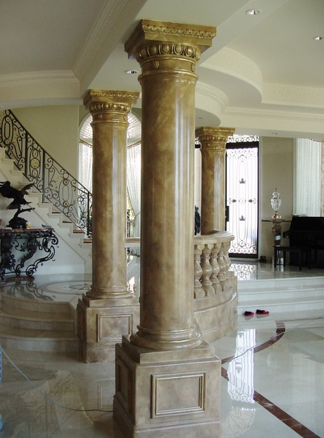 Painted Stone Pillars : Painted marbles faux stone columns and mantles