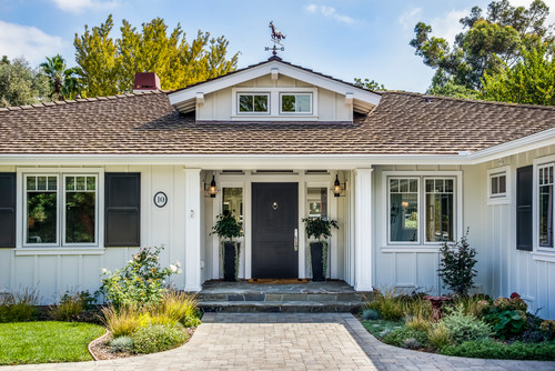 Farmhouse board and batten style exterior in Intense White