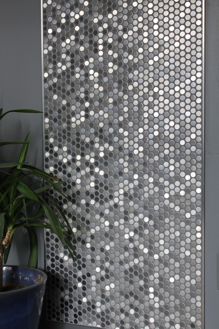 Perth Penny Rounds Brushed Stainless Steel Contemporary