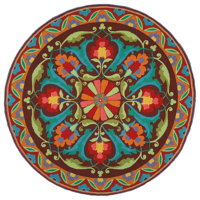 Circular Foyer Rug : Porcelain mocha round rug traditional entry boston