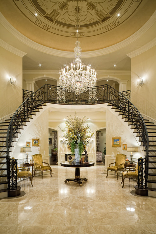 Interior styles and design chandeliers from the simple for Grand entrances