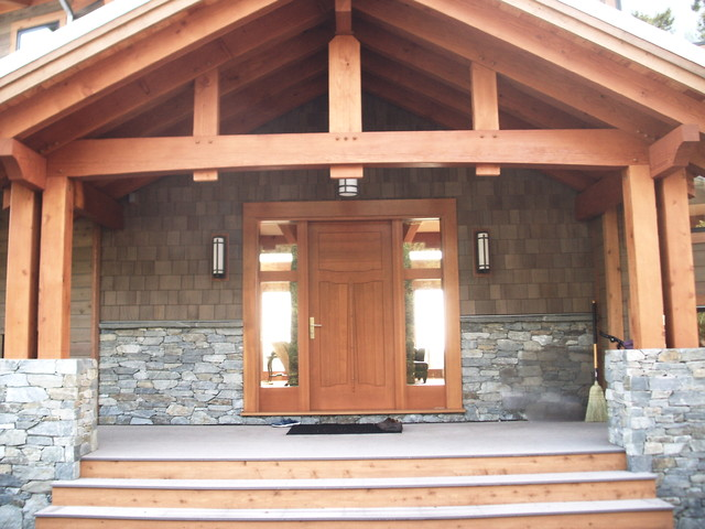 Post And Beam Entry With Custom Fir Door Craftsman