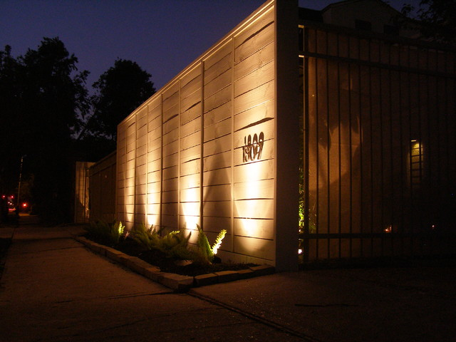 Flush Solar Wall Lights : Potomac courtyard