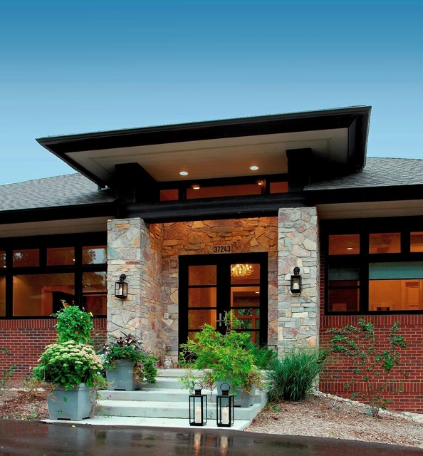 Prairie style home contemporary entry detroit by for Prairie style garden design