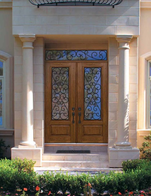 Pre-Hung Double Door 96 Fiberglass Palermo 1 Panel 3/4 Lite GBG Glass traditional-entry