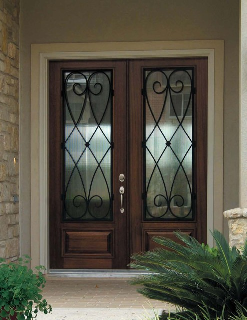 Beau Large Tuscan Entryway Photo In Tampa With A Dark Wood Front Door