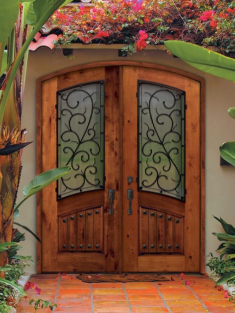 Prehung double door 96 solid knotty alder bellagio arch for Double front doors