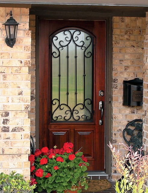 prehung single door 80 solid knotty alder valencia arch lite wrought mediterranean entry - Single Exterior Doors
