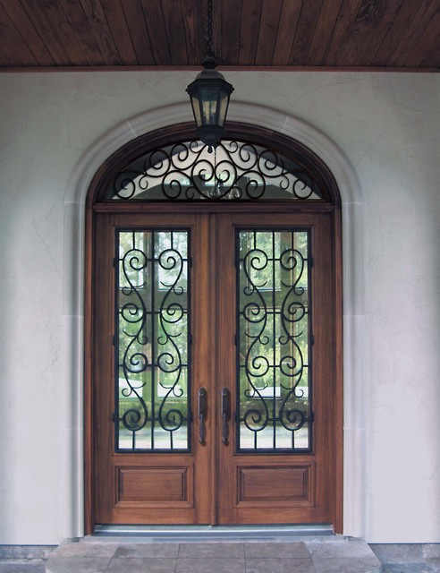 Prehung Transom Double Door 80 Solid Mahogany St Charles 3 4 Litemediterranean Entry Tampa