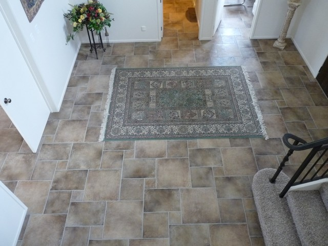 Private residence entrance foyer mediterranean entry for Entrance foyer tiles