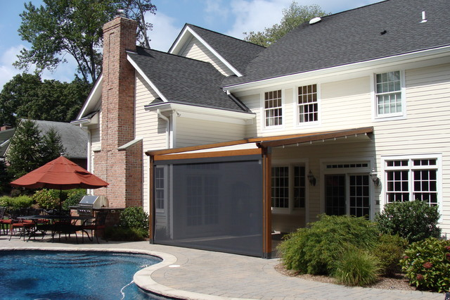 Private Residence, Northern NJ   Retractable Pergola Awning  Traditional Entry