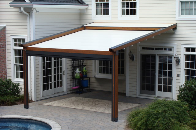 Example of a classic entryway design in New York - Private Residence, Northern NJ - Retractable Pergola Awning
