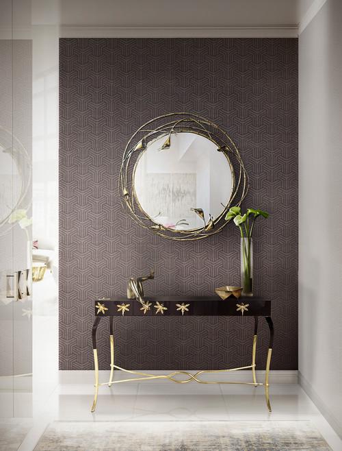 鏡と花瓶が引き立つアクセントクロス