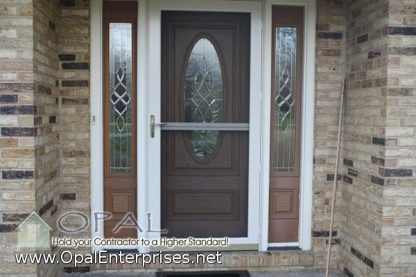 Provia front door with white storm door in glen ellyn for Entry door with storm door