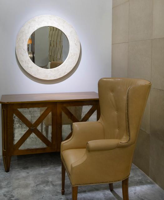 Radiance Round Bone Mirror contemporary-entry
