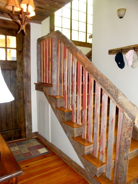 Reclaimed Barn Siding Interior Trim And Railing Traditional Entry Birmingham By Antique