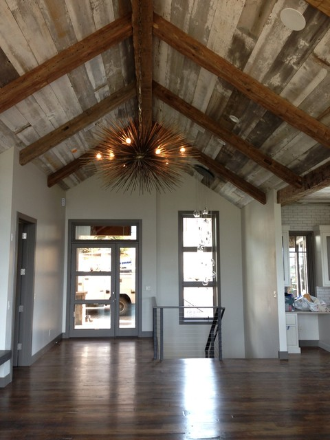 Reclaimed Beams Barn Wood Ceiling Contemporary Entry