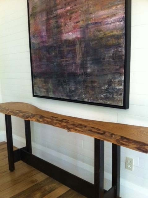 Reclaimed Catalpa Live Edge Slab Console Table Contemporary Entry