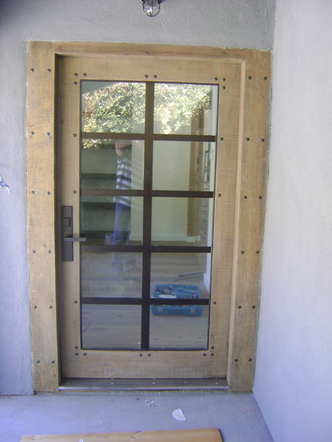 Reclaimed wood front door contemporary entry los for Reclaimed wood furniture los angeles