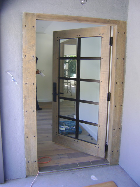 Reclaimed Wood Front Door Contemporary Entry Los