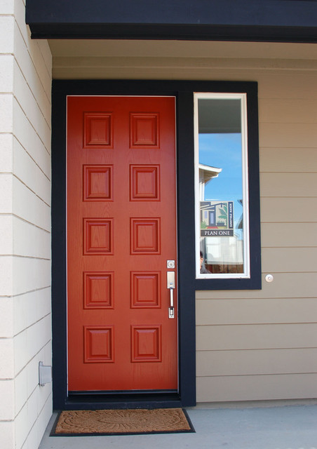 Red door black trim midcentury entry orange county for Mid century modern interior window trim