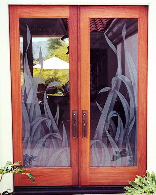 Reeds Glass Doors Mediterranean Entry
