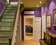 Renovated front hall and stairs of the original 1820s home traditional entry