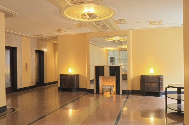 Restoration of Art Deco Lobby traditional-entry