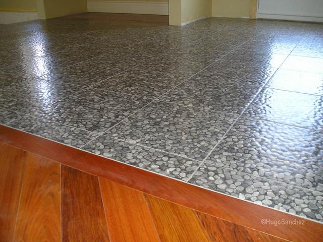 River Stone Tile Floor Modern Entry