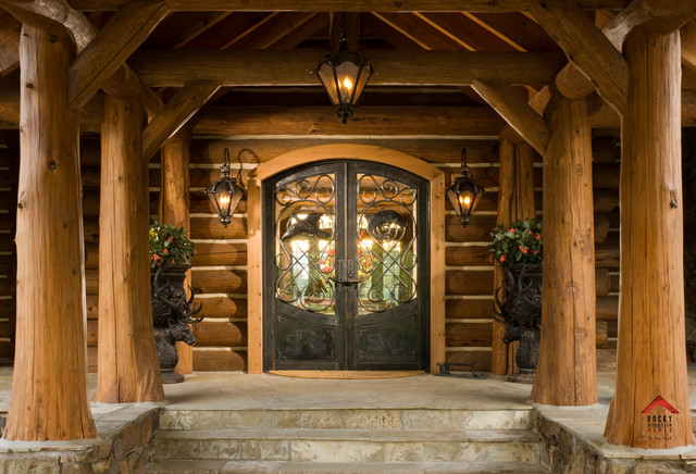 Rocky Mountain Homes Private Rustic Ranch Rustic Entry