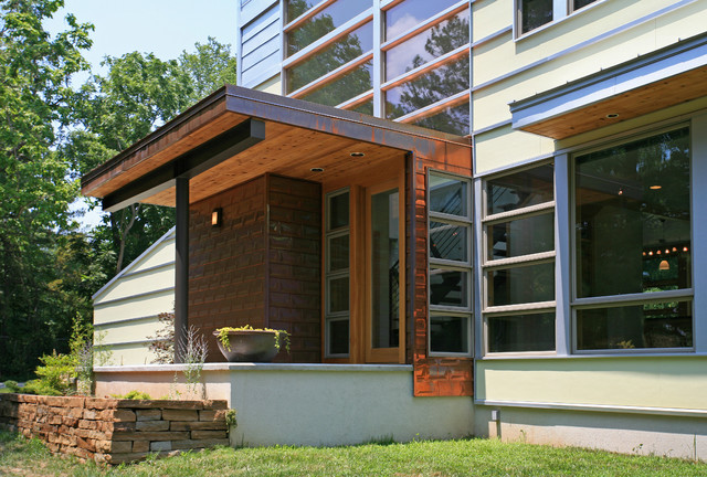 Romwoods porch contemporary entry by demx architecture for Modern glass porch designs