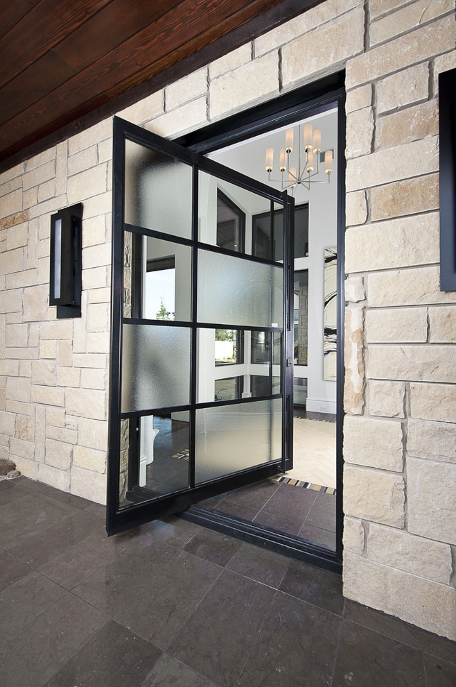 Inspiration for a contemporary pivot front door remodel in Austin with a glass front door