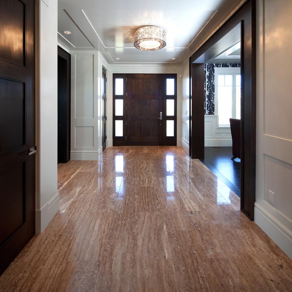 Elegant marble floor entryway photo in Calgary