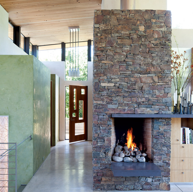 Rustic And Modern Fireplace Contemporary Entry