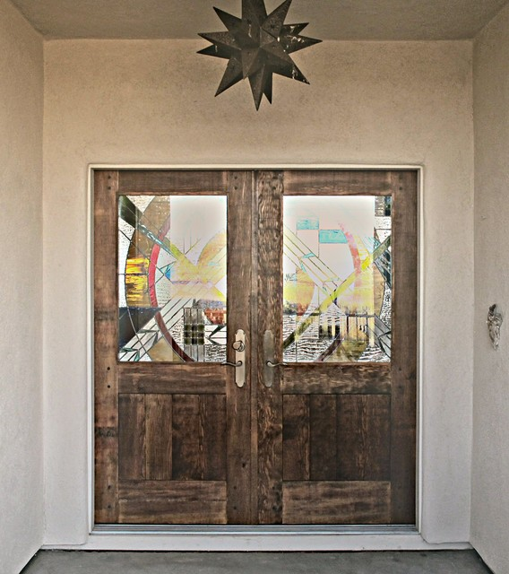 Rustic Entry Doors with Stained Glass - Rustic - Entry - other metro - by WGH Woodworking