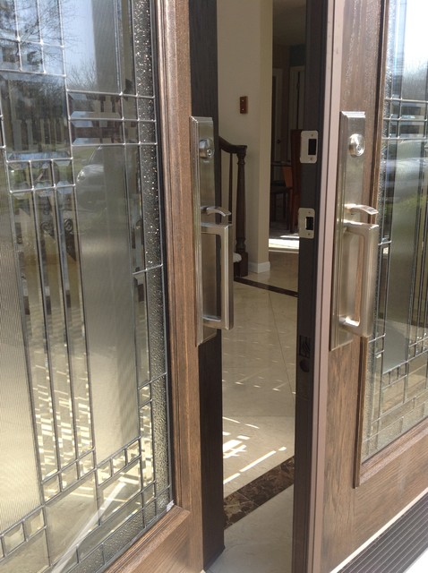 Satin nickel handles on front entry doors pepper pike ohio - Traditional french doors exterior ...