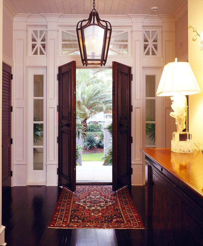 Elegant double front door photo in Atlanta with a dark wood front door