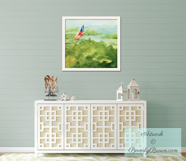 Shabby Chic Cottage Foyer with Framed American Flag Art ...