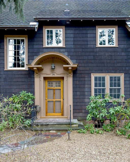 Shingle Style Front Entry traditional-entry