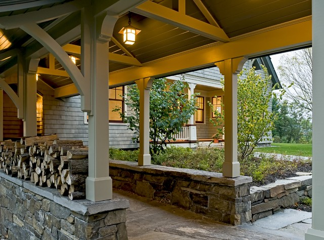 Shingle style home in Hanover NH rustic-entry
