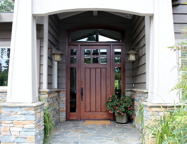 Wonderful Six Light Craftsman Door With Two SideLights Transitional Entry