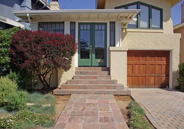 Slate Entryway In Oceanview District, San Francisco Craftsman Exterior