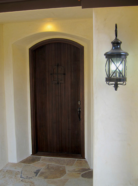 Small Spanish Style Cottage Front Door With Speakeasy And