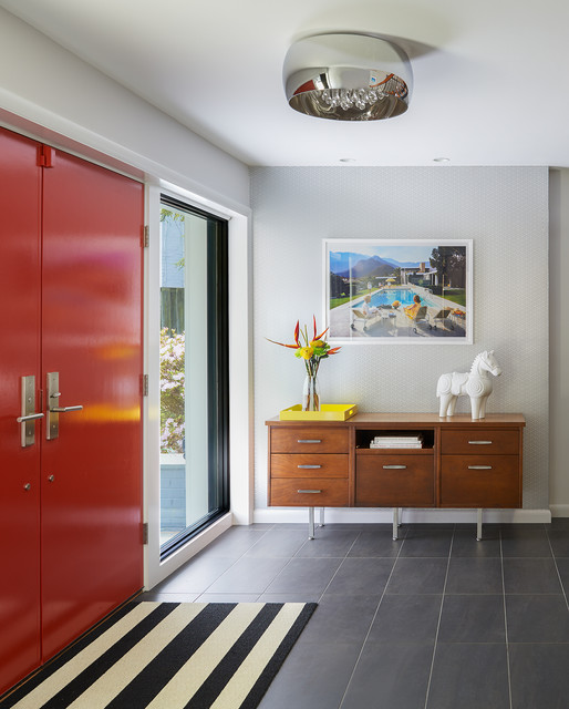 Entryway - large 1950s slate floor and gray floor entryway idea in DC Metro with gray walls and a red front door