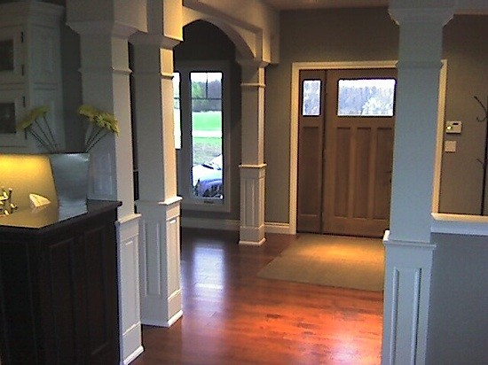 Square Half Raised Paneled Interior Column traditional-entrance