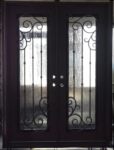 Square Top Wrought Iron Double Door With Rain Glass